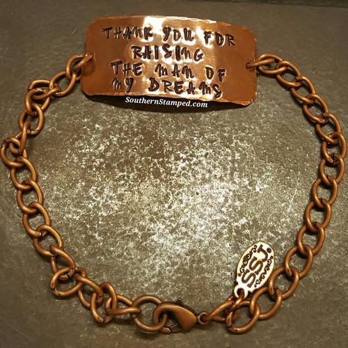 Thank You For Raising Copper Wide Bar Bracelet w/ Copper Chain