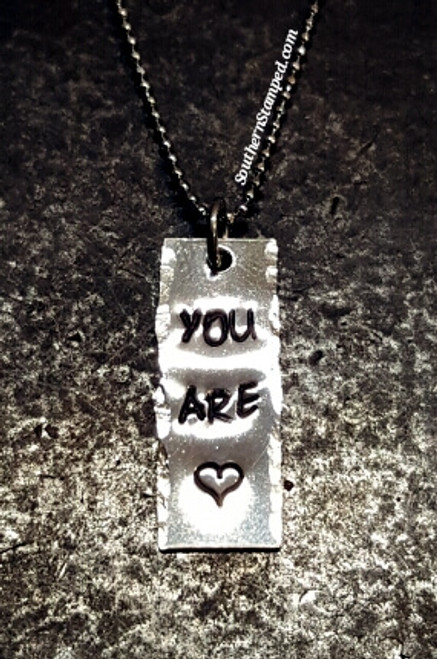 You Are Loved Tiny Vertical Bar Necklace