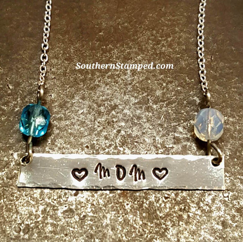 Sterling Silver Bar Necklace w/ 2 Birth Stone Beads