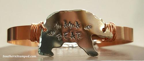 Mama Bear Silver Bear On Copper Wire Wrapped Cuff Bracelet