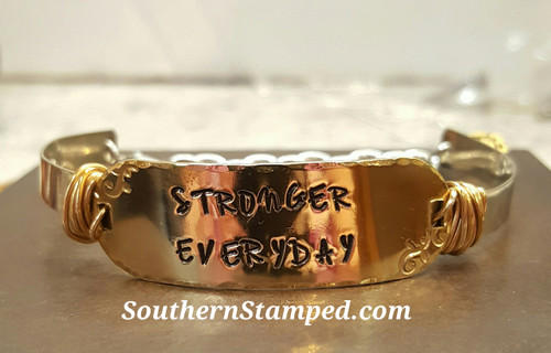 Stronger Everyday Brass Rounded Bar On Silver Wire Wrapped Cuff Bracelet