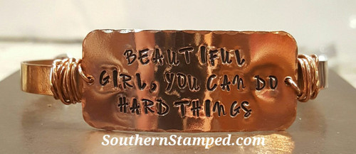 Beautiful Girl Wide Copper Bar On Copper Wire Wrapped Cuff Bracelet