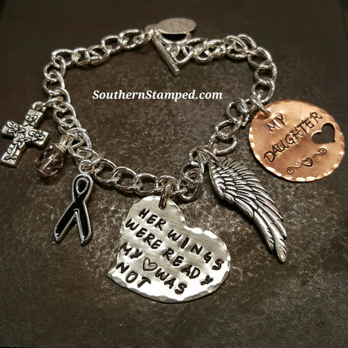 Her Wings Were Ready Silver Solid Heart w/ Copper Circle Cut Out Heart Bracelet