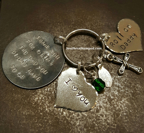 Thank You For Being The Dad Black Metal w/ 2 Solid Silver Hearts Keychain