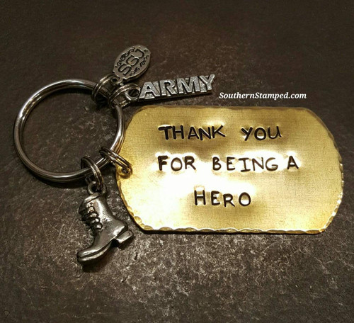 Thank You For Being A Hero Brass Dog Tag Keychain