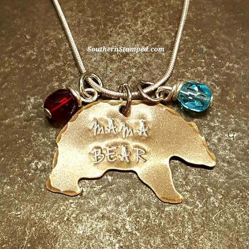 Natural Brass Mama Bear w/ 2 Birthstones