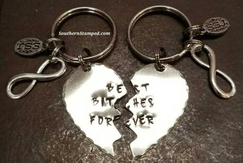 Best Bitches Forever Silver Broken Heart Keychain Set
