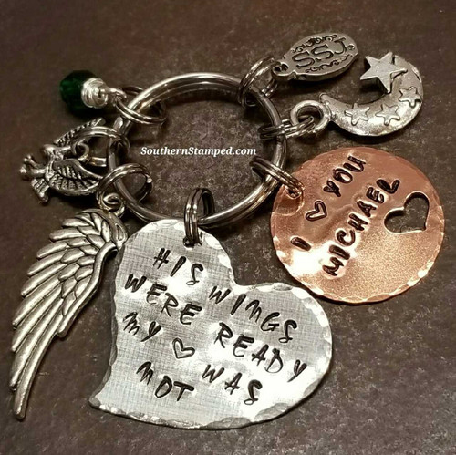 His Wings Were Ready Large Silver Funky Heart w/ Copper Circle Cut Out Heart Key Chain