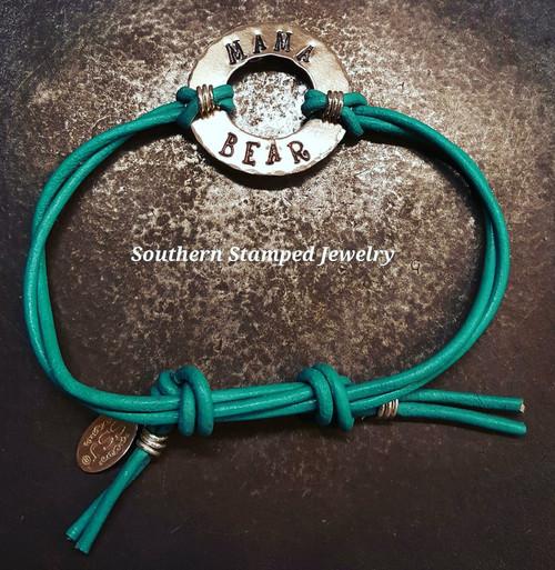 Mama Bear Leather Bracelet
