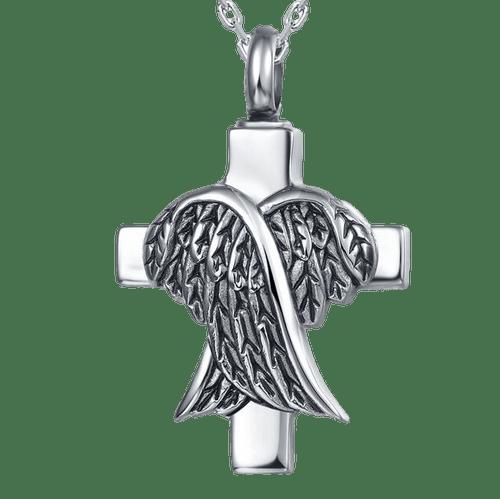 Stainless Steel Cross with Angel Wings Memorial Urn