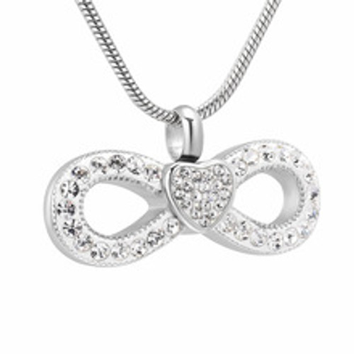 Crystal Infinity Heart Memorial Necklace Bow