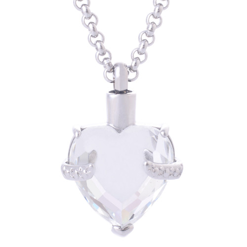 White Crystal Heart Necklace