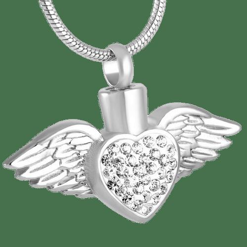 Silver Angel Heart Urn Pendant White