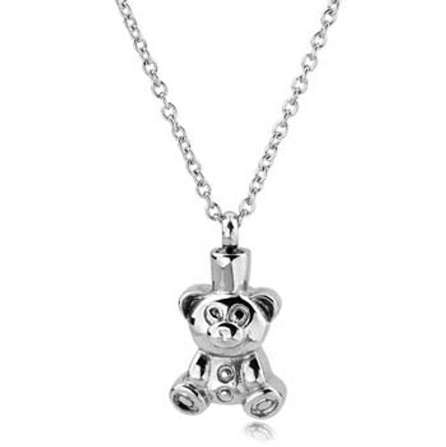 Teddy Bear Stainless Steel Memorial Urn Pendant For Pet Cremation Ash Jewelry