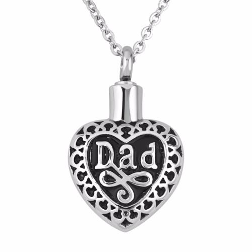 Lace Heart Dad Memorial Necklace