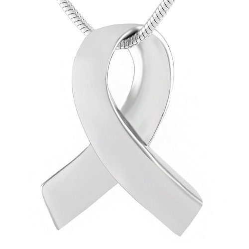 Silver Cancer Ribbon Urn Necklace