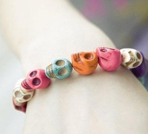 Prayer Beads Bracelet with Mala Skull Design