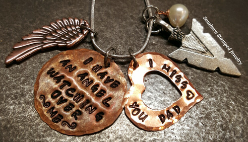 I Have An Angel Copper Circle w/ Copper Open Heart