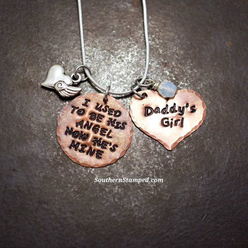 I Used To Be His Angel Copper Circle with Solid Copper Heart Necklace
