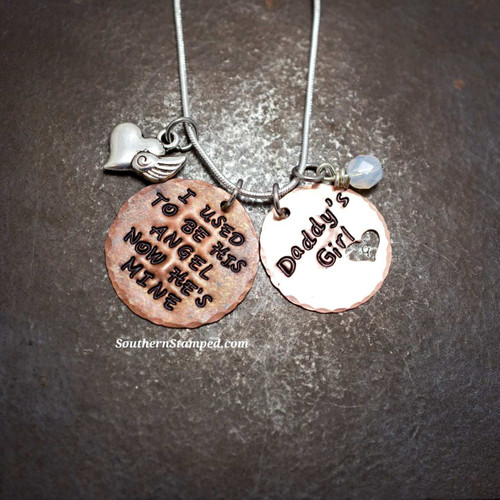 I Used To Be His Angel Copper Circle w/ Copper Circle Cut Out Heart Necklace