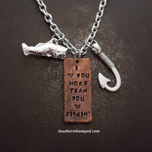 I Love You More Than You Love Fishin' Copper Rearview Mirror Charm