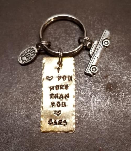 I love you more than you love cars key chain