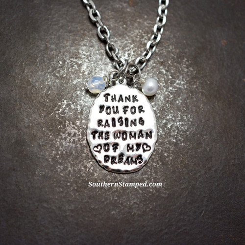 Thank You For Raising The Woman Of My Dreams Sterling Silver Rear View Mirror Charm