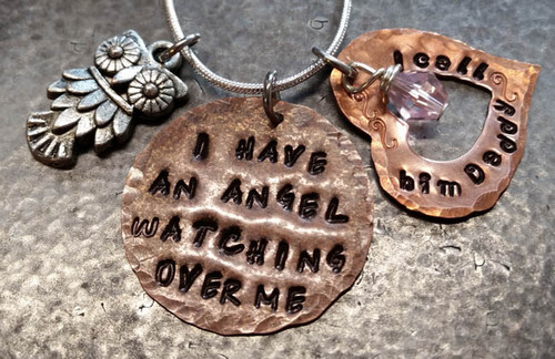 I Have An Angel Copper with Birth Stone Bead Hung in Middle of Heart