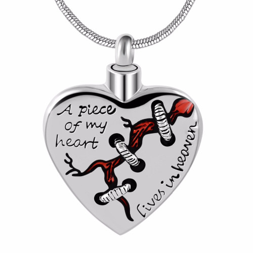 A Piece Of My Heart Lives In Heaven Silver Urn Necklace