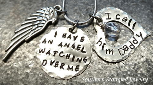 I Have An Angel Silver Circle with Birth Stone Bead Hung in Heart