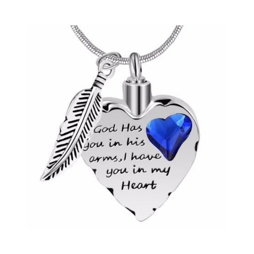 God has you in his arms cremation necklace for memorial ashes