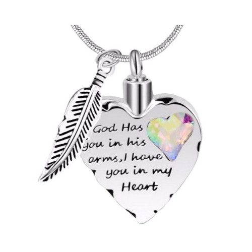 God has you in his arms rainbow cremation necklace