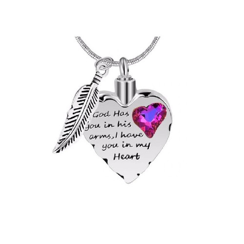 God has you in his arms cremation necklace with colored stone