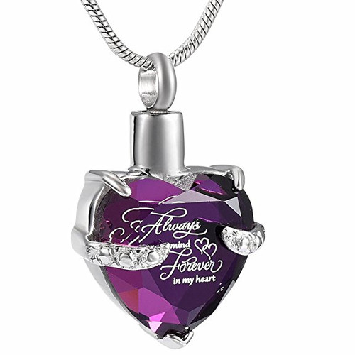 Purple Always On My Mind Heart Shaped Ashes Holder