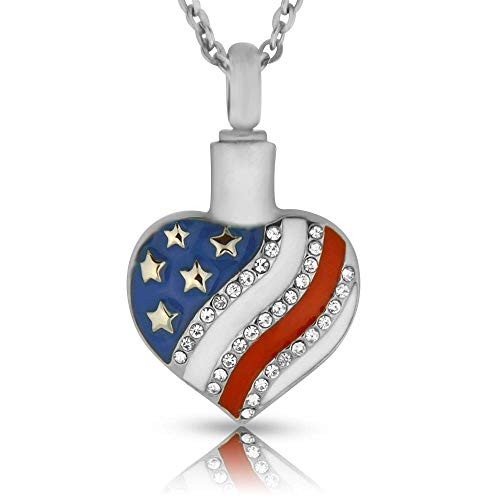 American Flag Heart Shaped Ashes Holder