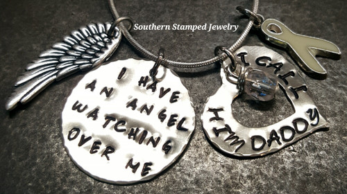 I Have An Angel Silver Circle With Open Heart
