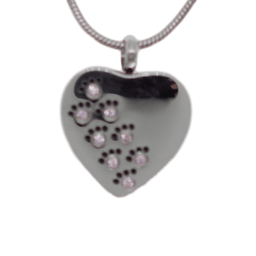 Paw Heart with Pink Crystals Memorial Keepsake
