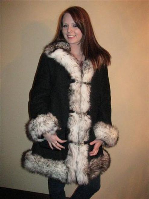 Sheepskin Fur Trim Coat - Ladies front - color black
