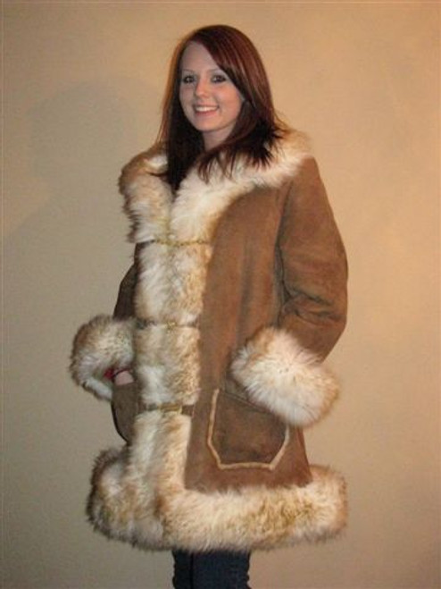 Sheepskin Fur Trim Coat - Ladies front- color stoney tan