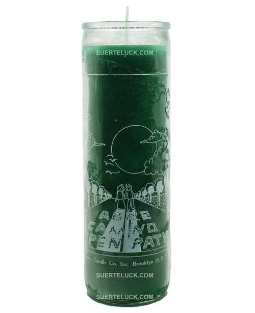 7 days Spiritual Candle Open Roads - Vela espiritual Abre Caminos by Crusader Candles. Glass jar printed with white letters displaying Abre Caminos - Open Roads and an image of a road with clouds and sun. Green wax.