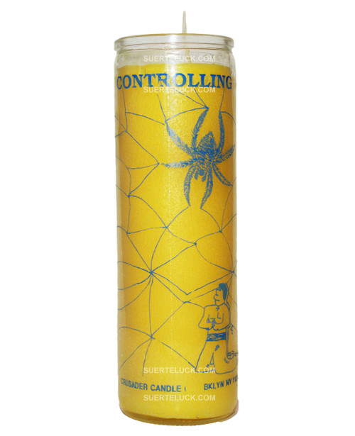 Candle Controlling - Vela de Controlador by Crusader. Glass jar with blue printed letters displaying the word Controlling and an image of spider with its web and a male figure in his knees. Yellow wax candle.