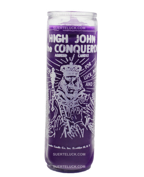7 day High John the Conqueror Candle purple in color by Crusader Candles. Glass jar with printed white words that say High John the Conqueror for luck, power and strength alleged candle.  There is an image of High John the Conqueror.