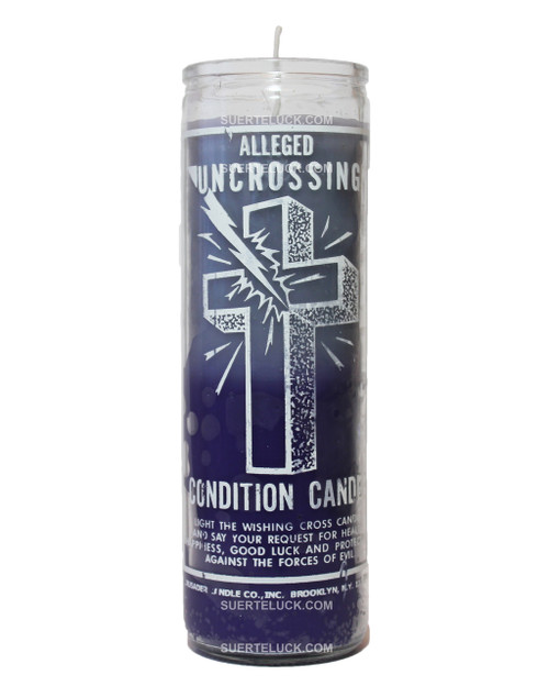 7 day spiritual candle Uncrossing 2 color candle purple and grey by Crusader Candles. Glass jar printed with white letters that read Alleged Uncrossing condition candle with instruction of use.