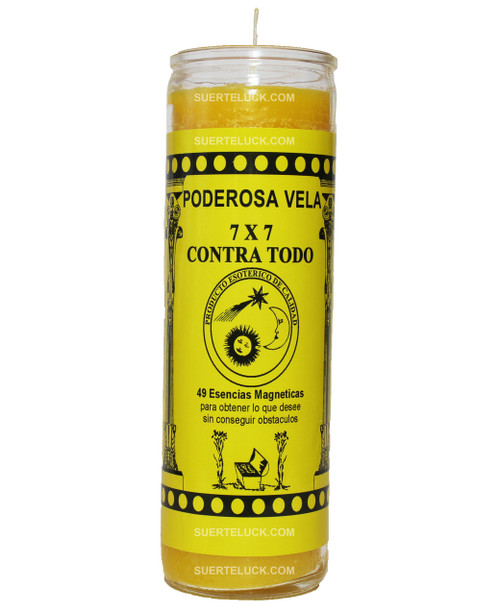 7 day spiritual candle 7x7 Against All by Mas Alla is yellow in color. Glass jar with a yellow printed label with black letters that say Poderosa Vela 7x7 Contra Todo. 49 esencias magneticas para obtener lo que desee sin conseguir obstaculos. The 7x7 against symbols of the sun, moon and star are in the middle with the seal that represents its authenticity.