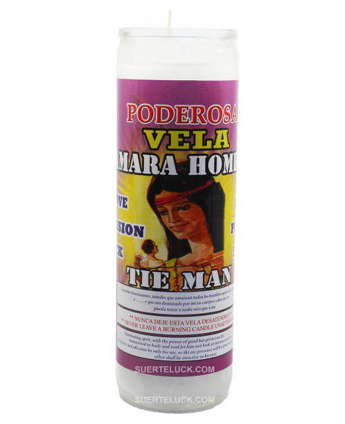7 day spiritual candle Tie Men - Vela de Esencia Espiritual Amarra Hombre Mas Alla is white in color. Glass jar with printed label that says Amarra Hombre – Tie Men. There is a full color image of a woman tying a knot on a man.