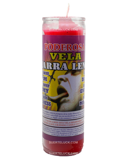 7 day spiritual scented candle Amarra Lengua by Mas Alla - is red in wax color. The image shows the Glass jar with a printed label that says Amarra Lengua. There is a full color image of a sword going through someone's tongue as a symbol to keep him or her quiet.