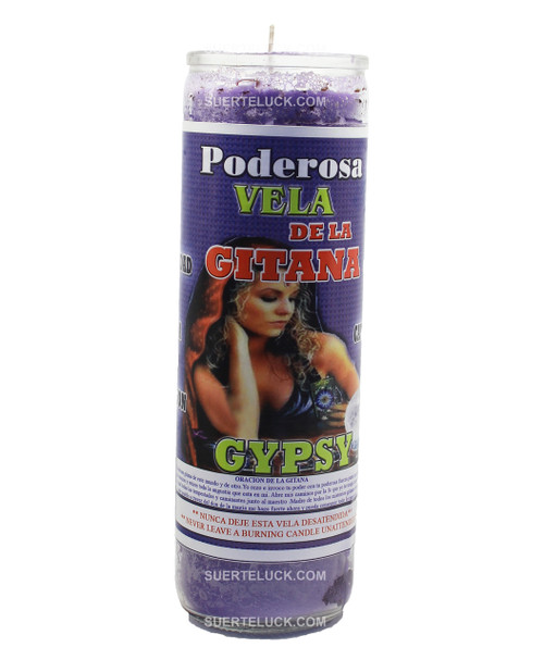 7-day spiritual scented candle Gypsy by Mas Alla is purple in wax color in a glass container. Spiritual Scented Candle Gypsy is used to bring prosperity, for her fortuneteller gifts and to attract luck. The label says Gypsy in Spanish and English with the image of a Gypsy woman.