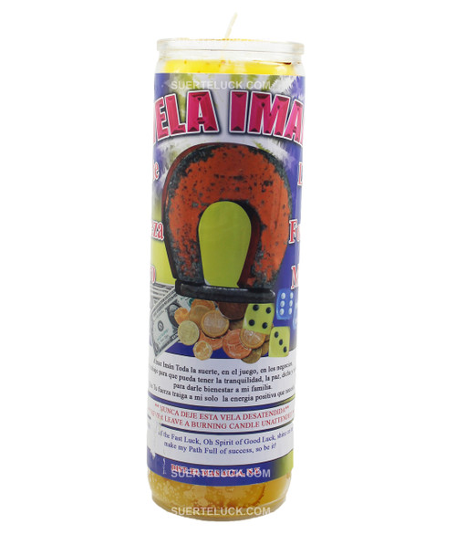 7-day spiritual scented candle Magnet by Mas Alla is yellow in wax color, comes in a glass container. This candle has on its label the magnet prayer.  The label is both in English and Spanish it has an image of a magnet attracting dollar bills, coins and dice.