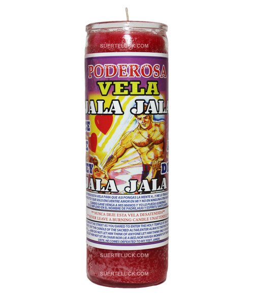 7-day spiritual scented candle Jala Jala by Mas Alla is red in wax color, comes in a glass container. This candle has on its label the Jala Jala prayer both in Spanish and English.  There is an image of a shirtless men and a woman looking up to him.