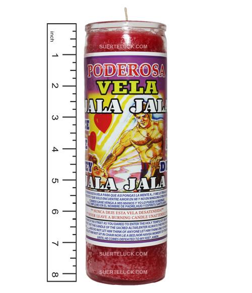 Vela de esencia espiritual Jala Jala por el Mas Alla. Es usada para que tu siempre estes en la mente de la persona que amas. Los que usan la vela Jala Jala creen que sus poderes misticos atraen a la persona que aman. Al lado de la vela hay una regla que mide el envase a 8.25 pulgadas de alto.